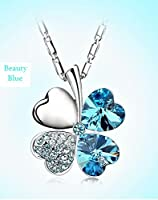 Crystal Beauty Four Leaf Clover/Heart Pendant Necklace