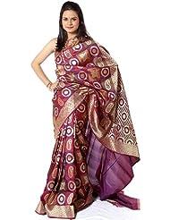 Exotic India Multi-Color Sari From Banaras With Woven Mot - Multi-Color