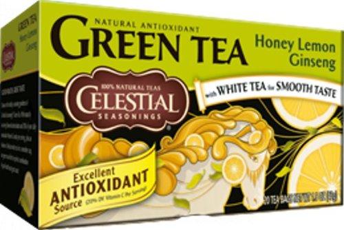 Celestial Seasonings Green Tea Honey Lemon Ginseng With White Tea -- 20 Tea Bags - Pack Of 2