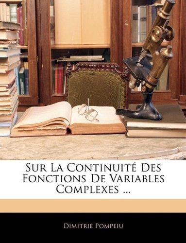 Sur La Continuité Des Fonctions De Variables Complexes ...