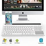 ATiC キーボード - タッチパッド式 ワイヤレス ブルートゥース 無線キーボード(Wireless Bluetooth Keyboard) リチウムバッテリー内蔵 iPad mini 4/iPad pro/iPhone 6s/6s Plus/iOS/Windows/Android PCタブレット&スマートフォンに適応。 WHITE+GRAY