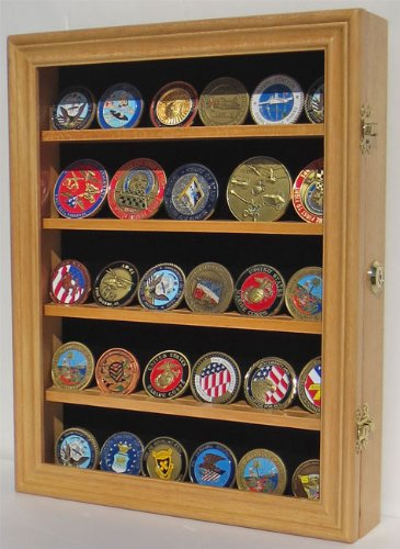 30 Military Challenge Coin, Poker Chip, Sports Coin Display Case Cabinet, Glass door, Locks, Coin30-OA
