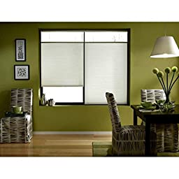 Single Piece Cool White 20 1/2W x 40H-Inch Wide Cordless Top Down Bottom Up Cellular Shades, Curtain, Energy Efficient Features (Includes Hardware), Polyester Material, Off White, Cream, Ivory