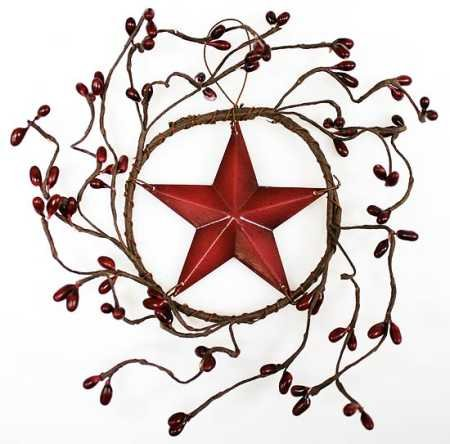 Set of 4 Decorative Burgundy Pip Berry Wreath with Burgundy Barn Star Center