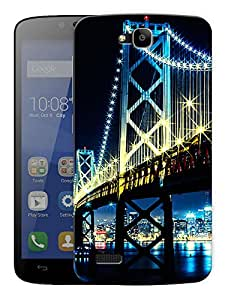 """New York Bridge Light Printed Designer Mobile Back Cover For """"Huawei Honor Holly"""" By Humor Gang (3D, Matte Finish, Premium Quality, Protective Snap On Slim Hard Phone Case, Multi Color)"""