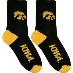 Iowa Hawkeyes Team Color Quarter Socks by For Bare Feet