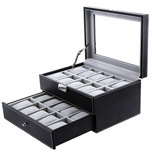 Songmics 20 Mens Watch Box Black Leather Display