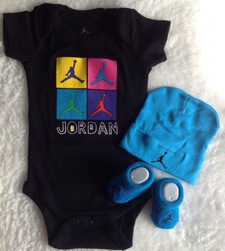 Nike Jordan Baby Shoulder Bodysuit, Booties and Cap 0-6 Months 3 Piece Set