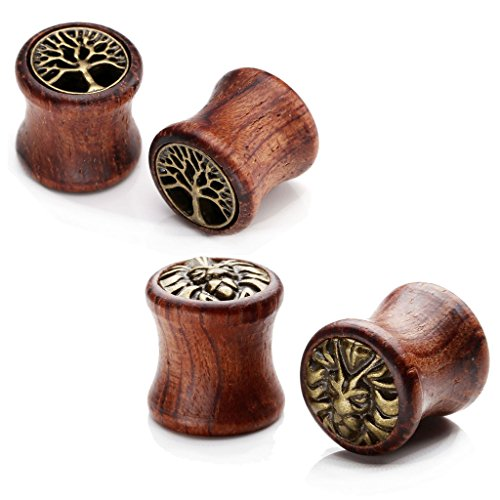 JOVIVI 4pc Mix-Style Organic Sono Wood Brass Tree of Life Hollow Plugs & Lion Head Saddle Plugs Ear Gauges 00G (Cool Ear Gauges compare prices)