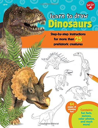 Learn to Draw Dinosaurs: Step-by-step instructions for more than 25 prehistoric creatures-64 pages of drawing fun! Contains fun facts, quizzes, color photos, and much more! (Draw Dinosaurs compare prices)