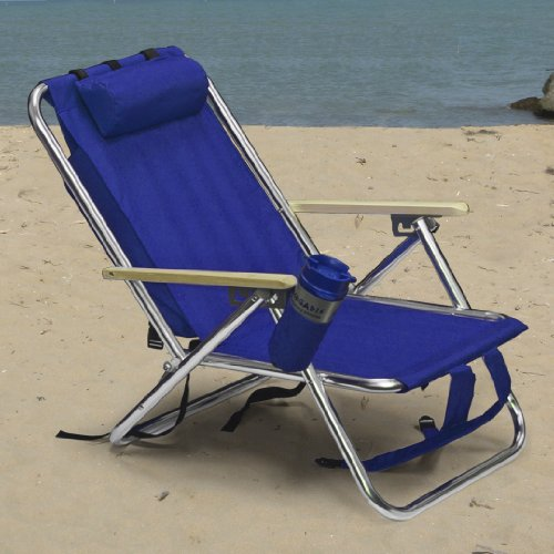 Backpack Beach Chair Folding Portable Blue Solid Construction Camping New