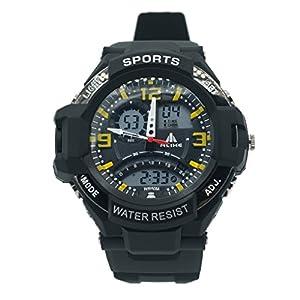 ALIKE - AK1390 - 50m Etanche Dual Time Sport numérique bracelet à quartz avec Date / Alarme / Chronomètre Chronographe - Jaune
