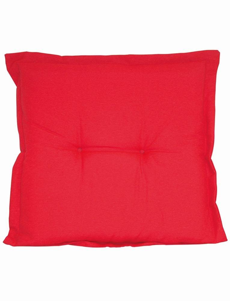 2 Stück MADISON Dessin Panama Garten-Hockerauflage, Sitzpolster, 75% Baumwolle, 25% Polyester, 50 x 50 x 8 cm, in rot
