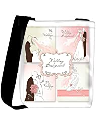 Snoogg Set Of Beautiful Vector Wedding Backgrounds Easy To Edit Perfect For Weddin Womens Carry Around Cross Body...