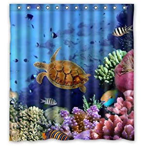 Custom unique design colorful coral reef and for Coral reef bathroom decor