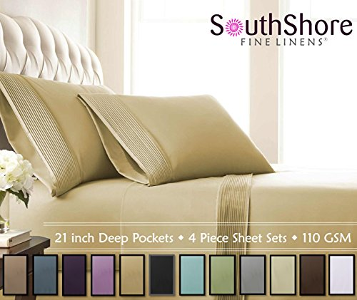 Southshore Fine Linens® - 5 Piece - Extra Deep Pocket Pleated Sheet Set , SPLIT KING , GOLD (Linen Sheets Split King compare prices)