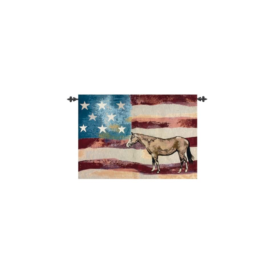 American Flag with Horse Cotton Wall Art Hanging Tapestry 26 x 36