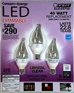 Feit Electric LED Dimmable CFC Candelabra Base 4.8watt/40watt 300 Lumens (3-Pack)