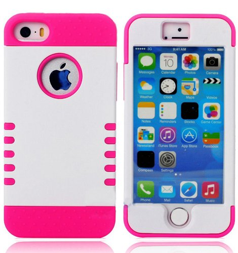 Mylife (Tm) Hot Magenta And White - Shield Armour Series (Neo Hypergrip Flex Gel) 3 Piece Case For Iphone 5/5S (5G) 5Th Generation Itouch Smartphone By Apple (External 2 Piece Fitted On Hard Rubberized Plates + Internal Soft Silicone Easy Grip Bumper Gel)