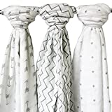 Ziggy Baby Lote de 3 mantas para beb�, hechas de muselina, con dise�os estampados con ondas, cruces o flechas, 120 x 120 cm