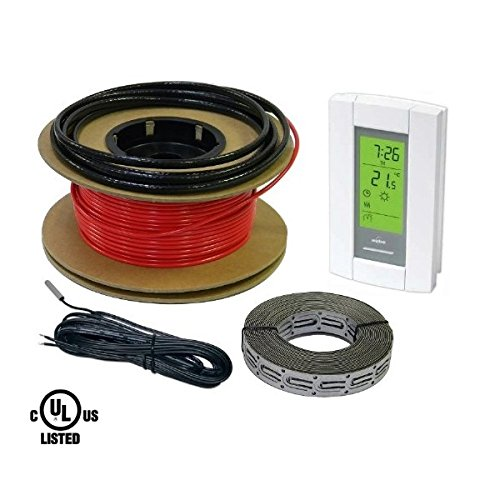 HeatTech 15 sqft Floor Warming Cable Set, Electric Radiant In-Floor Heat Heating Cable System, 120V, 60ft long Floor Warming Cable, with Aube Digital 7-day programmable Floor Sensing Thermostat (Electric Infloor Heat compare prices)