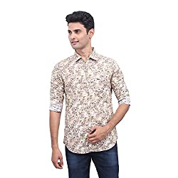 Urbantouch Mens Beige Printed Shirt