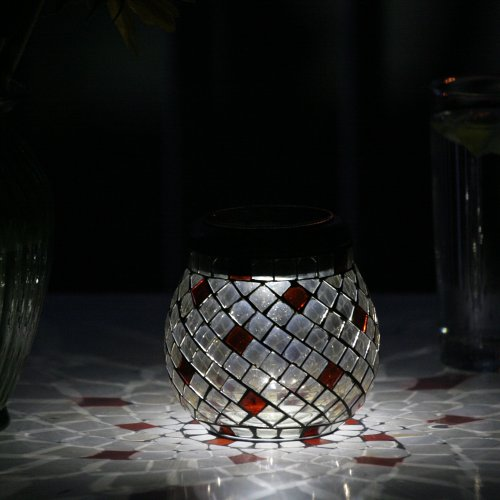 Glass Mosaic Solar T-Light - Champagne 4Pk