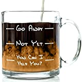 Go Away Funny Glass Coffee Mug 13oz - Unique Christmas Present Idea for a Mom, Dad, Husband, Wife, Boyfriend, Girlfriend - Best Office Cup & Birthday Gag Gift for Coworkers, Men & Women, Him or Her