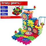 Gear Building Toy Set - Interlocking Learning Blocks - Motorized Spinning Gears - 81 Piece Playground Edition by Krazy Gears