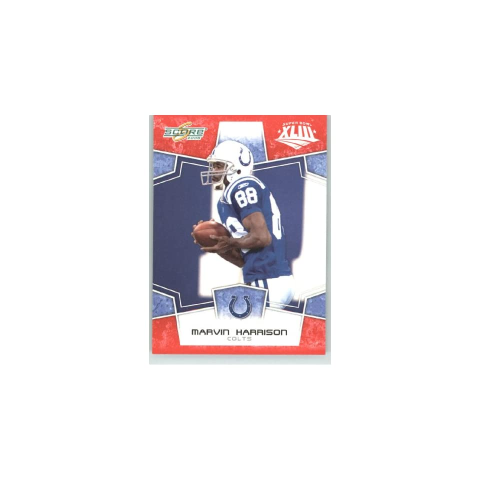 2008 Donruss / Score Limited Edition Super Bowl XLIII # 129 Marvin Harrison   Indianapolis Colts   NFL Trading Card in a Prorective Screw Down Display Case