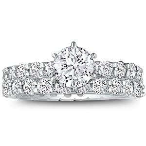 14K White Gold Diamond Eternity Engagement Ring Set( 2 3/4ct tw G/H SI Size 4-9)