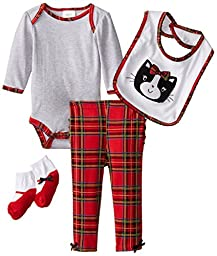 Baby Gear Baby-Girls Newborn 4 Piece Deluxe Set-Cat, Red, 3-6 Months