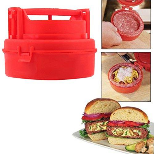 Coscelia Hamburger Presse Steak Haché Anti-adhésive en Silicone Rouge BBQ Patty Outils Cuisine