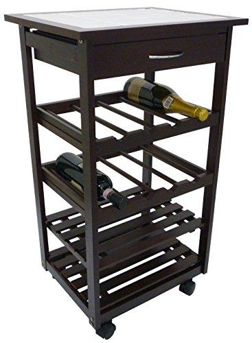 Carrello da cucina in legno noce marrone con porta bottiglie cassetto e ruote 4 piani