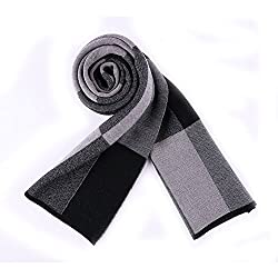 Shenny Men's Classic Checkered Business Wild Sheep Plush Warm Scarf Scarf Thicker Section (30-180CM, black)
