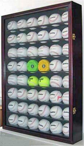 48 Baseball/Hockey Puck Display Case Wall Cabinet Shadow Box, UV Protection Door, Lock. B48-MA (48 Baseball Display Case compare prices)