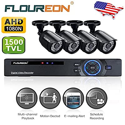 Floureon 8CH P2P Motion Detection Email Alerts AHD 1080N DVR + 4 X 720P 1.0MP 1500TVL Outdoor Bullet Camera Home Surveillance Security Kit (NO HDD)