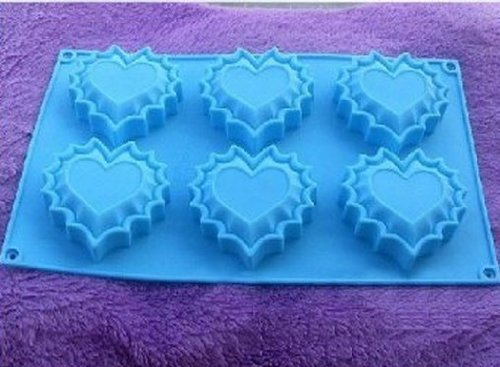 Allforhome 6 heart Silicone Cake Baking Mold Cake Pan Muffin Cups Handmade Soap Moulds Biscuit Chocolate Ice Cube Tray DIY Mold