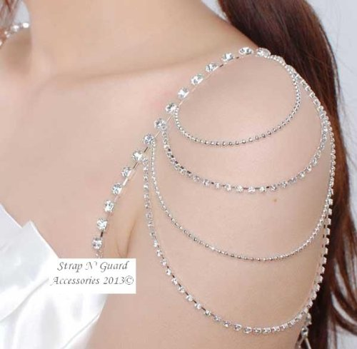 Chic &#038; Sexy New Style Crystal Shoulder Pin Straps, Must-Have Ladies Jewelry Bra Clothing Pin Straps--Prevents Strapless Slippage, Perfect for Women Dress Gown; Wedding Dress, Prom Dress, Formal Dance, Holiday and Gift
