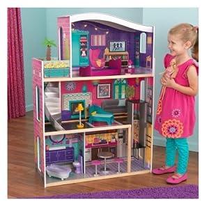 Amazon com kidkraft glitter dream girls wood pretend play dollhouse w
