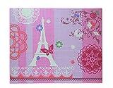イケヒコ デスクカーペット ラグ 1畳 女の子 エッフェル柄『ジェンヌ』 ピンク 約110×133cm