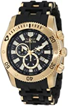 Invicta Sea Spider Men's Quartz Watch with Black Dial  Chronograph display on Black Plastic Strap 0140
