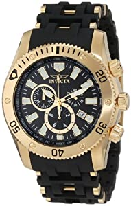 """Invicta Men's 0140 """"Sea Spider Collection"""" 18k Gold Ion-Plated Stainless Steel and Black Polyurethane Watch"""