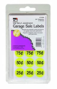 Charles Leonard Inc. Garage Sale Labels, Blank and Priced, Yellow, 306/Box (72290)