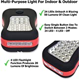 LED Work Light Flashlight for Camping, Home, Emergency Kit, Auto, DIY & More! Ultra-Bright Flood Light w/ *FREE* Batteries - Makes a Great Gift! (1-Pack Red)