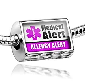 "Neonblond Beads Medical Alert Purple ""Allergy Alert"" - Fits Pandora Charm Bracelet from NEONBLOND Jewelry & Accessories"