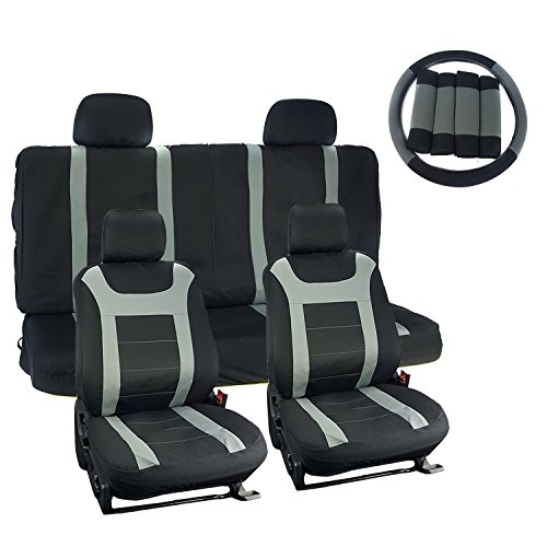 APZONA Universal Seat Covers 17pc Set Black and Grey Fit Most Cars, Trucks, SUVs, Vans (Grey Universal Car Seat Covers compare prices)