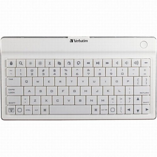 Verbatim Ultra-Slim Rechargable Wireless Bluetooth Keyboard iPhone, iPad (All), iPod Touch, Kindle Fire HD (All), Google Nexus, Samsung Galaxy, other Android Tablets, White (97754)