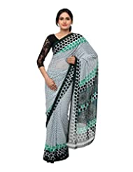 Chandan Sarees Synthetic Self Print White With Green Print Saree