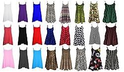 Womens Long Cami Swing Dress Camisole Strappy Skull & Rose Skull Roses Aztec Tartan Comic 22 24 26 Plus Size Vest Top